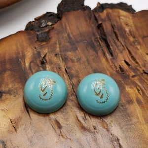 Vintage turquoise brass dome southwest button